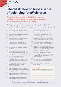 A checklist with reflective questions to help all children have a sense of belonging in your service