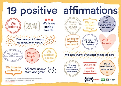 Printable poster with 19 positive affirmations to foster resilience